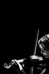 Photo sur Aluminium Musique Violin player violinist closeup