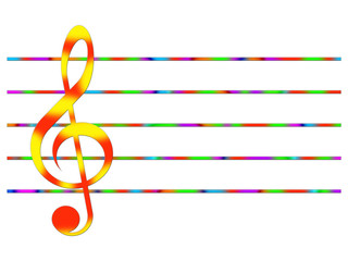 Red-and-yellow treble clef and multicolored lines on the white background