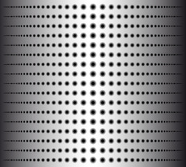 Technology background with circle perforated metal chrome, iron, stainless steel, silver grill texture for internet sites, web user interfaces. Vector Pattern.