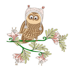 Cute decorative patterned owl and cartoon flowers