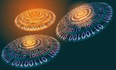 Futuristic abstract background with binary code