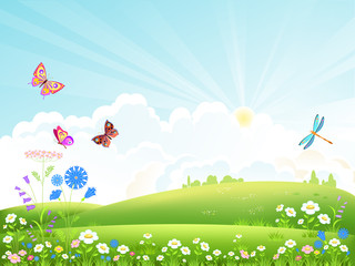Beautiful summer landscape with flowers, butterflies and dragonflies .Vector illustration.