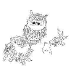 Coloring book for adult and older children. Coloring page with cute decorative owl