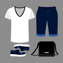 Set of trendy men's clothes with shorts, t-shirt and accessories
