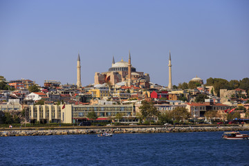 Istanbul, Turkey - September 15, 2016: Hagia Sophia view from Bosphorus, once it was church after 1453 become mosque