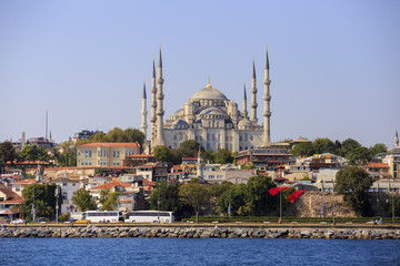 Istanbul, Turkey - September 15, 2016: Sultanahmet Mosque, built in new era by Ottoman Sultan Ahmet.