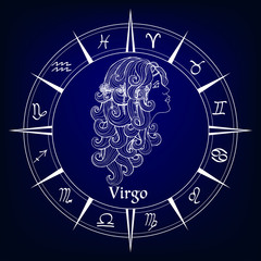 decorative patterned zodiac sign Virgo