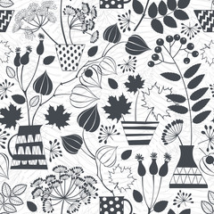 Seamless pattern with silhouettes of autumn bouquets.  Black and white vector illustration.