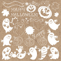 Happy Halloween. Vector illustration, hand-drawn isolated elements