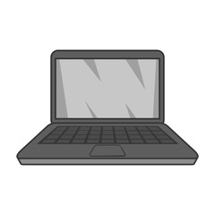 Laptop icon in black monochrome style isolated on white background. Equipment symbol vector illustration