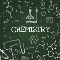 Vector chalk draw chemistry elements