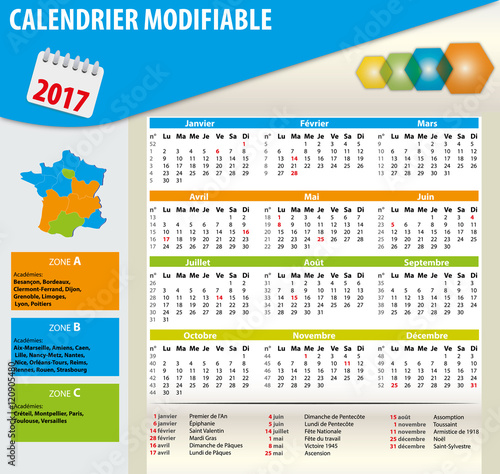 quotcalendrier 2017 cong233s logo n176 semaine jours f233ri233s
