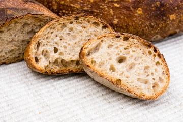 Slices of homemade artisan bread