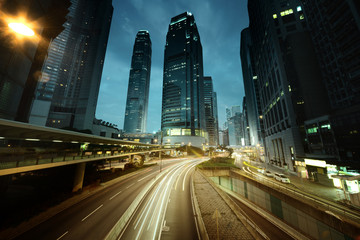 Fotomurales - traffic in Hong Kong at sunset time