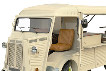 Food truck eatery cafe cabin open door, close view. 3D graphic