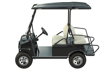 Golf car black transport, side view. 3D graphic