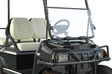 Golf car black golfing equipment, close view. 3D graphic