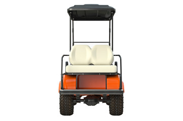 Golf car auto orange, back view. 3D graphic