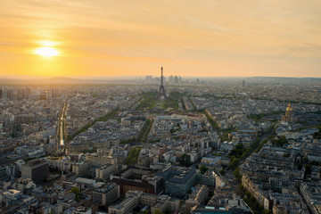 Aerial view of Paris with Eiffel tower at sunset in Paris,France
