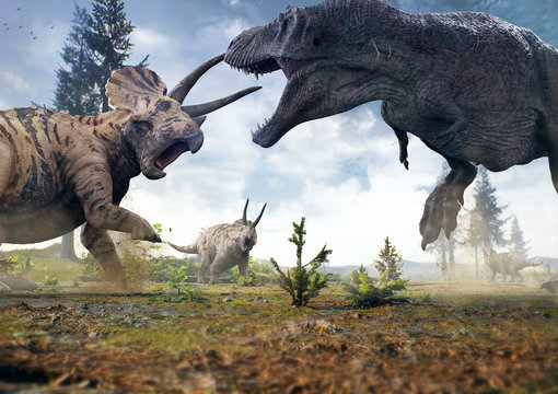 3D rendering of Tyrannosaurus Rex facing off against a Triceratops herd in Hell Creek about 67 million years ago.