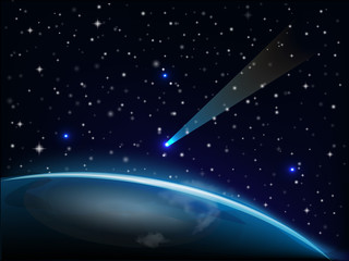 Meteorite falling on earth vector image web template