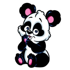 Panda little surprise cartoon illustration isolated image animal character