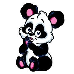 Panda little surprise cartoon illustration isolated image animal character
