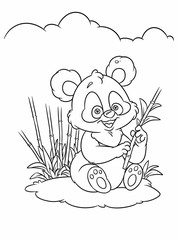 Bamboo Panda coloring pages cartoon illustration
