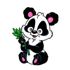 Panda little bamboo cartoon illustration isolated image animal character