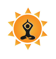 Yoga and sun logo