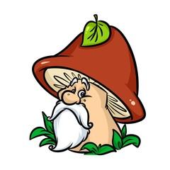 Mushroom fairy tale character old cartoon illustration