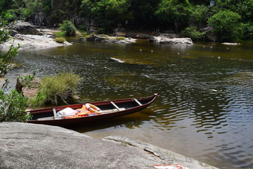 traditional  vietnamese boat in river
