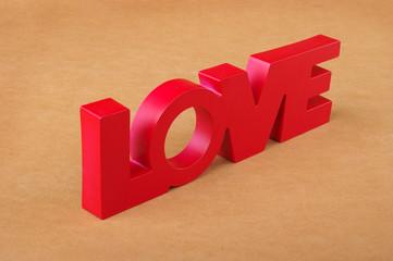 Lettering Love on orange background