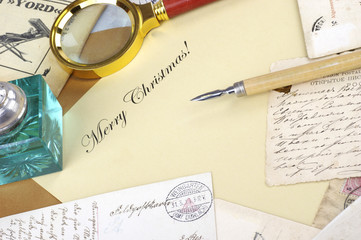 Lettering Merry Christmas with pen