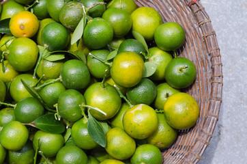 Green Kumquat In Basket.