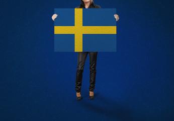 SWEDEN, Banner, Flag holding hands,