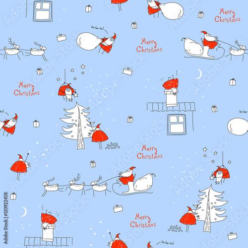 Seamless Pattern Merry Christmas Santa Claus Sleigh Reindeer Tree House