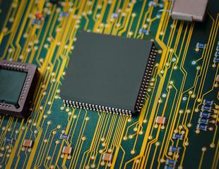 Microchips on a circuit board