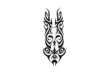 VECTOR Abstracted face and mask in tribal style.