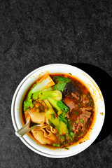 Thai beef soup bowl specific Asian recipe