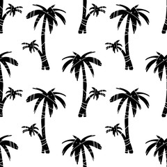 Seamless pattern with coconut palm ttees