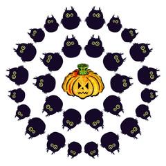 Set Owl and pumpkin. Emotions. Happy Halloween