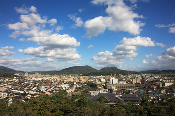 松江城天守閣から望む松江市街地