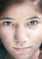 teen girl close up face portrait