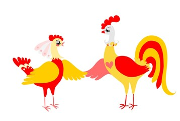 Rooster and hen isolated on white background. Vector illustration.