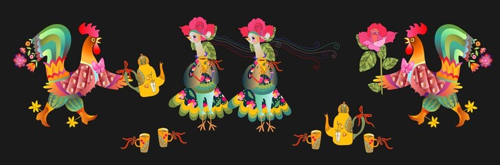 Tea Party. Seamless border with fairy rooster and hen. Vector illustration. Year of the Cock. Textile, paper, wallpaper, web design.