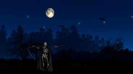 The Grim Reaper at the cemetery the night