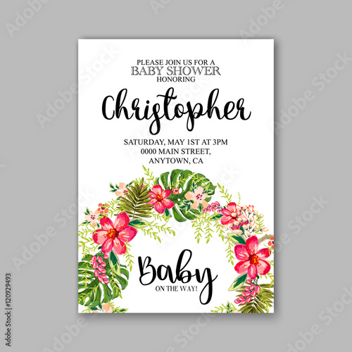 baby shower invitation template with watercolor tropical flower, Baby shower invitations