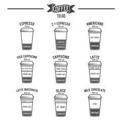 Hot coffee to go drinks recipes icons set