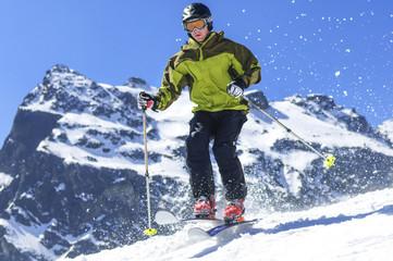 dynamisch Skifahren mit freier Ferse